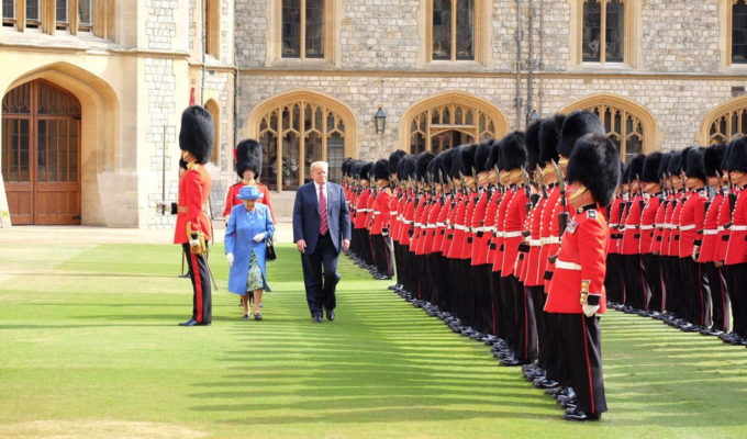 The Queen and Donald Trump inspect the royal guard