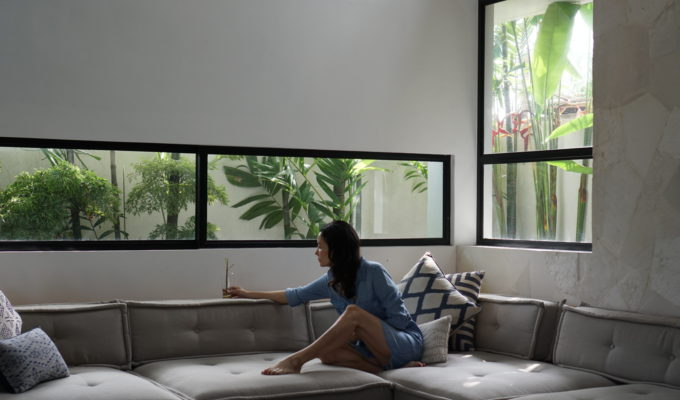 Nadya Hutagalung relaxes at Villa Nonnavanna in Bali