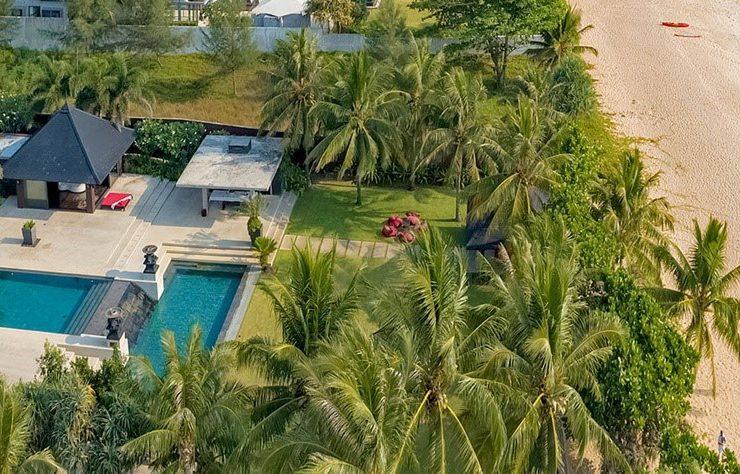 Aeriel view of Villa Saanti luxury beachfront villa in Phuket