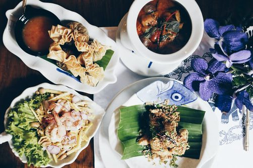 Flatlay of delicious Thai dishes